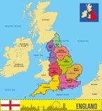 Politische Karte von England mit Regionen und ihren Hauptstädten Lizenzfreie Stockfotografie