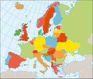 Politische Karte von Europa Lizenzfreies Stockfoto