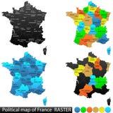 Politische Karte von Frankreich lizenzfreie abbildung