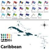 Politische Karte von Karibischen Meeren Stockfotos