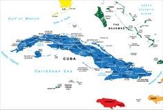 Politische Karte von Kuba Lizenzfreie Stockfotos