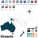 Politische Karte von Ozeanien Stockfotografie