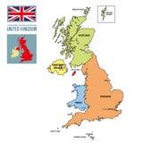 Politische Karte von Vereinigtem Königreich mit Regionen und ihren Hauptstädten Stockfotos