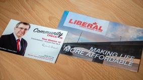 Politische Plattform und Gemeinschaft überprüfen herein von Richard Brown, PEI Liberal Party für die provinzielle Wahl stockfotografie