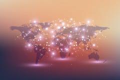 Politische Weltkarte mit globalem Technologievernetzungskonzept Digital-Daten-Sichtbarmachung Zeichnet Plexus Große Daten stock abbildung