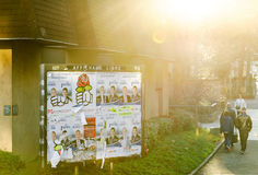 Politische Werbung auf französischer Straße mit Sonnenaufflackern Lizenzfreie Stockfotos