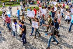 Politischer Marsch, Antigua, Guatemala Lizenzfreies Stockfoto