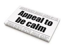 Politisches Konzept: Zeitungsschlagzeile Berufung, zum ruhig zu sein vektor abbildung