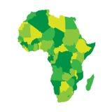 Politisk översikt av Afrika i fyra skuggor av gräsplan på vit bakgrund också vektor för coreldrawillustration vektor illustrationer