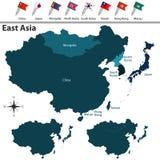 Politisk översikt av East Asia royaltyfri illustrationer