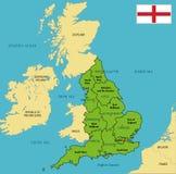 Politisk översikt av England med regioner och deras huvudstäder royaltyfri illustrationer