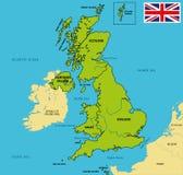 Politisk översikt av Förenade kungariket med regioner och deras huvudstäder royaltyfri illustrationer