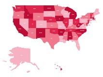 Politisk översikt av Förenta staterna od Amerika, USA Enkel plan vektoröversikt i fyra skuggor av rosa färger med det vita tillst royaltyfri illustrationer