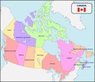 Politisk översikt av Kanada med namn royaltyfri illustrationer
