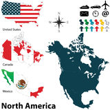 Politisk översikt av Nordamerika Royaltyfri Bild