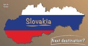 Politisk översikt av Slovakien Blick för vektor 3D med färger av nationsflaggan Nästa destinationstext Hög detalj, lägenhetdesign royaltyfri illustrationer
