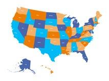 Politisk översikt av USA, Amerikas förenta stater Färgrikt med vittillståndet namnger etiketter på vit bakgrund vektor royaltyfri illustrationer