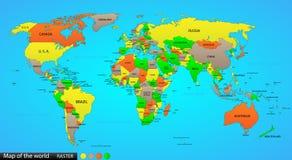 Politisk översikt av världen Arkivbild