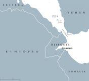 Politisk översikt för Bab el Mandeb Strait region vektor illustrationer