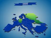 politisk översikt för dimensionell infographics 3 av europeiska länder royaltyfri illustrationer
