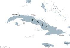 Politisk översikt för Kuba med huvudhavannacigarr stock illustrationer