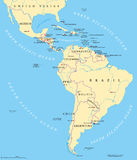 Politisk översikt för Latinamerika stock illustrationer
