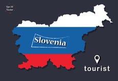Politisk översiktsillustration Slovenien blick 3D med plan design Vektor som färgas i nationsflaggafärgerna Du är här tecknet, ti stock illustrationer