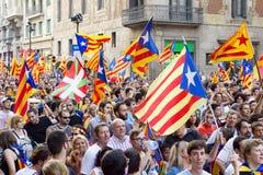 Politisk demonstration i Barcelona Fotografering för Bildbyråer