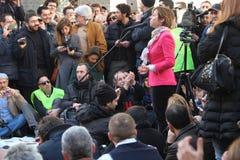 Politisk demonstration i Rome Royaltyfria Bilder