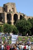 Politisk demonstration i Rome Fotografering för Bildbyråer