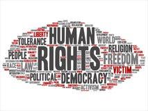 Politisk frihet för vektormänskliga rättigheter, abstrakt ordmoln för demokrati royaltyfri illustrationer