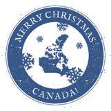 politisk Kanada kontinental översikt Kanada för glad jul för tappning stämpel Royaltyfri Fotografi