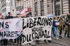 Politisk marsch under en fransk rikstäckande dag mot Macrow la Royaltyfri Fotografi