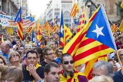 Politisk protest i Barcelona Royaltyfria Bilder