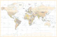 Politisk Topographic kulör världskartavektor för tappning royaltyfri illustrationer