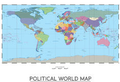 politisk värld för översikt stock illustrationer