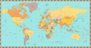 Politisk världskarta för gammal tappningfärg royaltyfri illustrationer