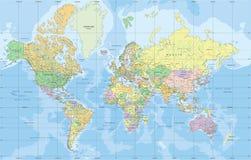 Politisk världskarta i Mercator projektion vektor illustrationer