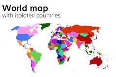 Politisk världskarta med isolerade länder och kontinenter vektor illustrationer