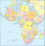 Politiska Afrika kartlägger Arkivbild