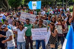 Politiska protester, Antigua, Guatemala royaltyfria foton