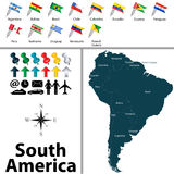 politiska söder för Amerika översikt stock illustrationer