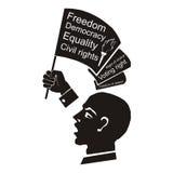 Politiskt anförande, högtalare med flaggan i handen, medborgerliga rättigheter Arkivfoto