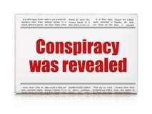Politiskt begrepp: komplott för tidningsrubriken avslöjdes vektor illustrationer