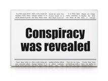 Politiskt begrepp: komplott för tidningsrubriken avslöjdes stock illustrationer