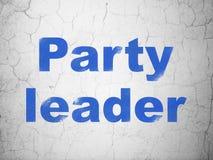 Politiskt begrepp: Partiledare på väggbakgrund arkivbild