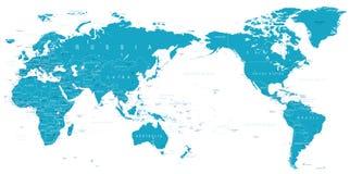 Politiskt centrerat Stillahavs- för världskarta royaltyfri illustrationer