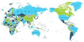 Politiskt centrerat Stillahavs- för världskarta vektor illustrationer