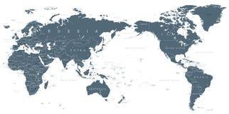 Politiskt centrerat Stillahavs- för världskarta stock illustrationer