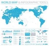 Politiskt centrerat Stillahavs- för världskarta - informationsdiagram royaltyfri illustrationer